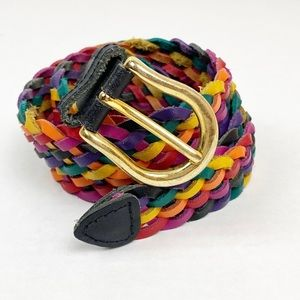 Multicolored Rainbow Woven Leather Belt Size XL